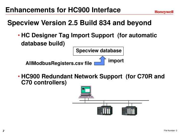 Enhancements for hc900 interface