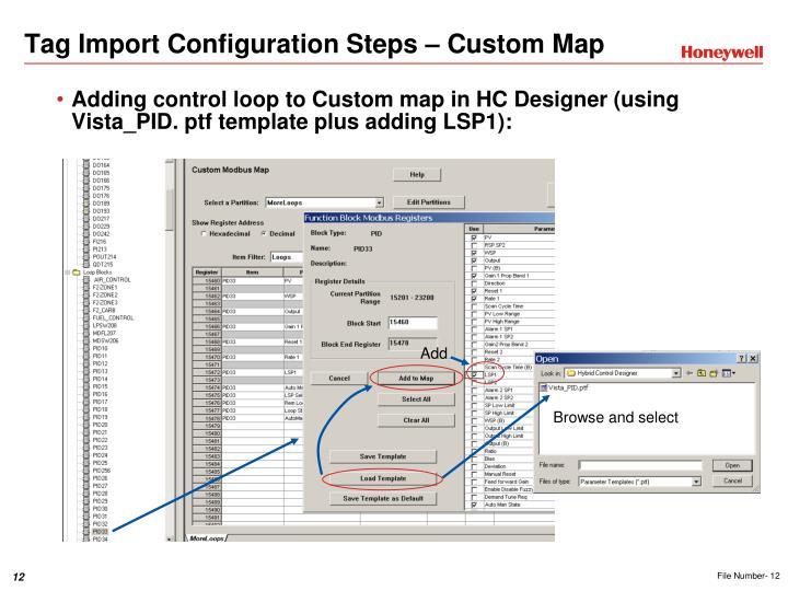 Tag Import Configuration Steps – Custom Map