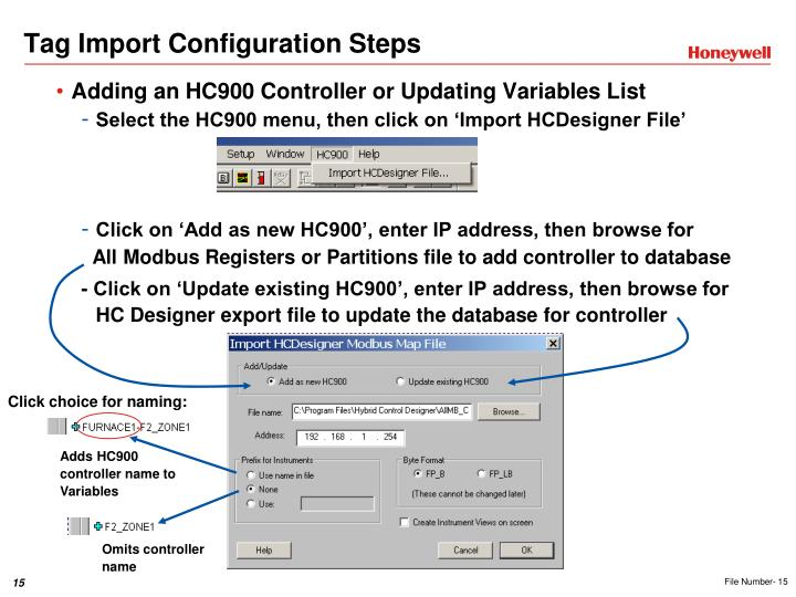Tag Import Configuration Steps