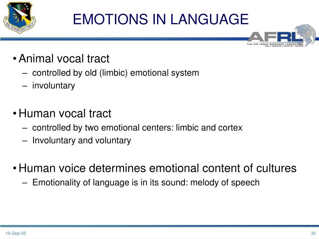 EMOTIONS IN LANGUAGE