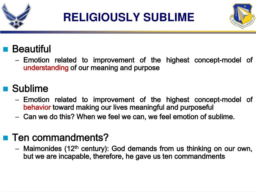 RELIGIOUSLY SUBLIME