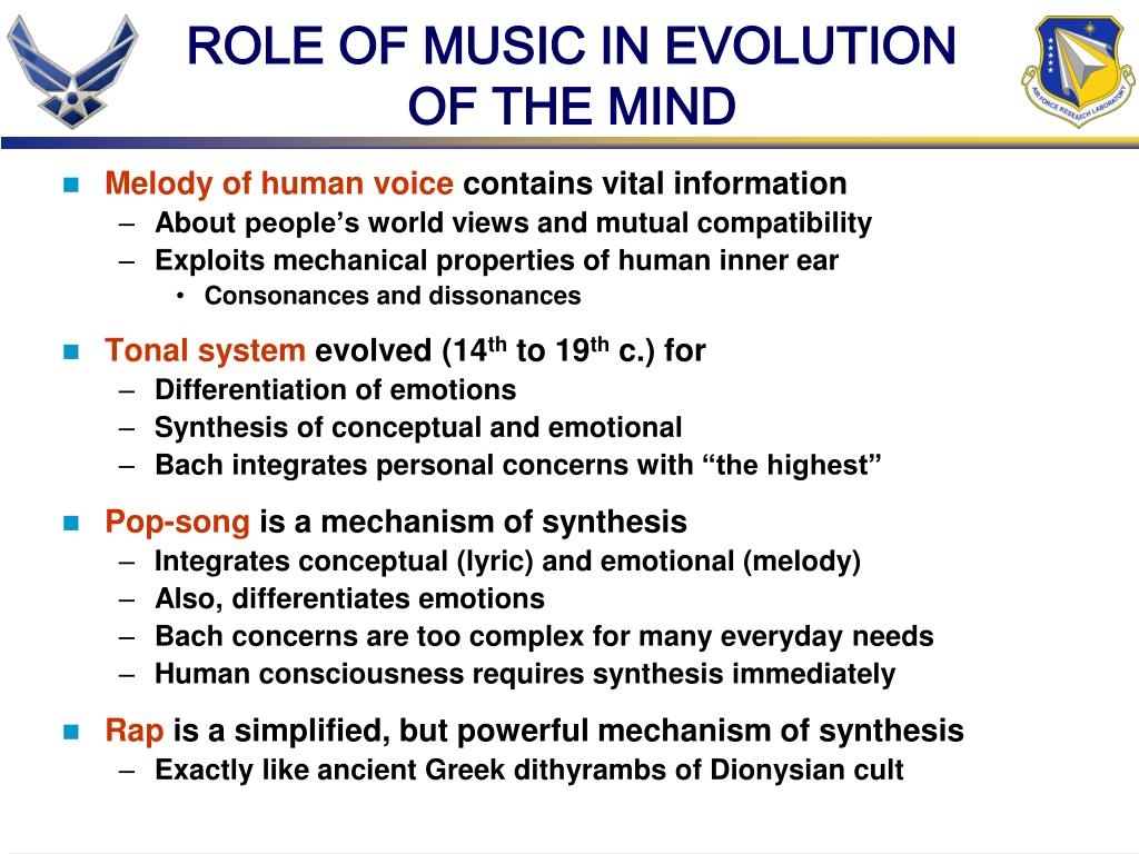 ROLE OF MUSIC IN EVOLUTION OF THE MIND