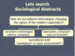 lets search sociological abstracts