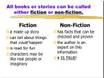 all books or stories can be called either fiction or non fiction