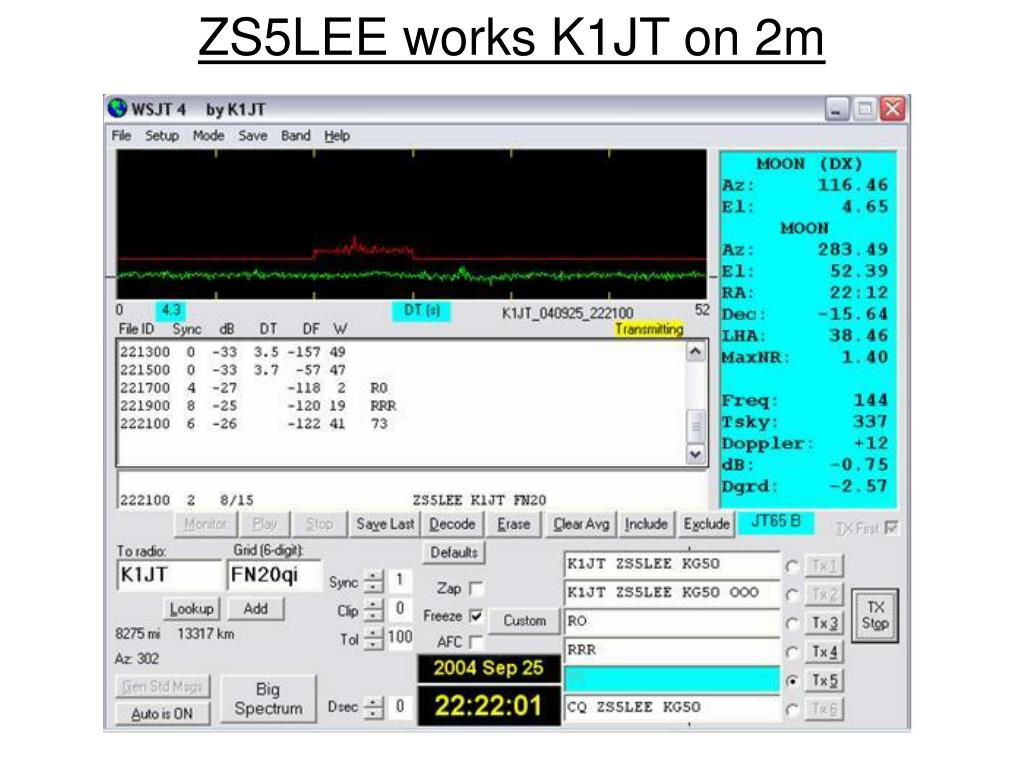 ZS5LEE works K1JT on 2m