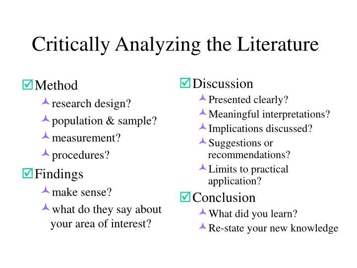 Critically Analyzing the Literature