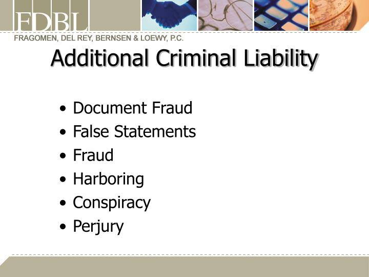 Additional Criminal Liability