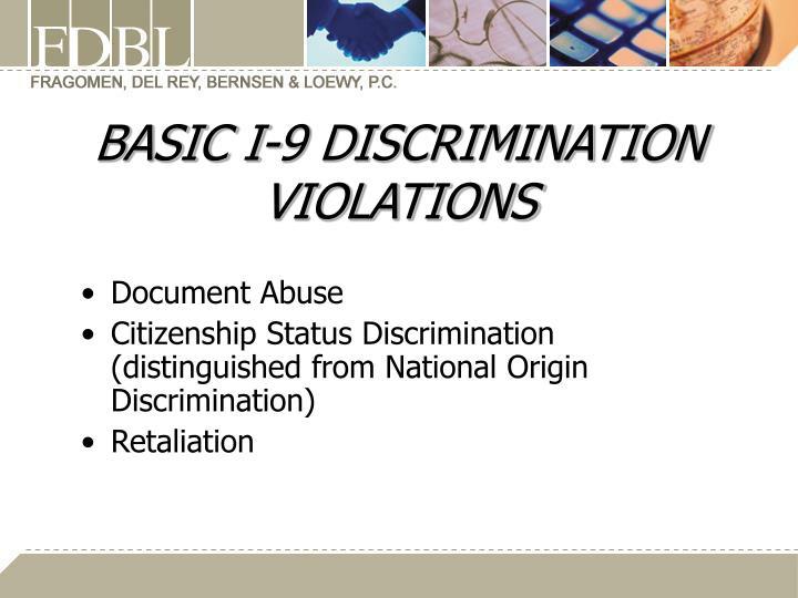 BASIC I-9 DISCRIMINATION VIOLATIONS