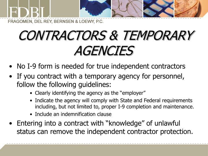CONTRACTORS & TEMPORARY AGENCIES