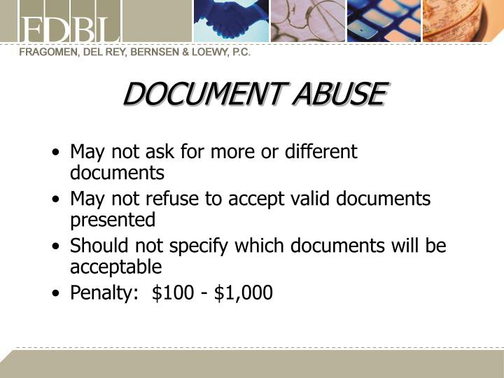 DOCUMENT ABUSE