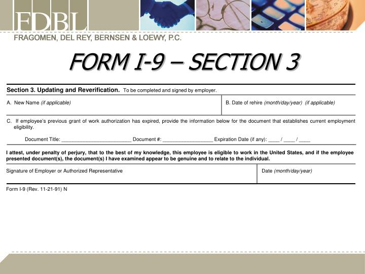 FORM I-9 – SECTION
