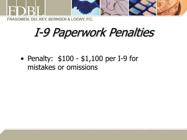 I-9 Paperwork Penalties