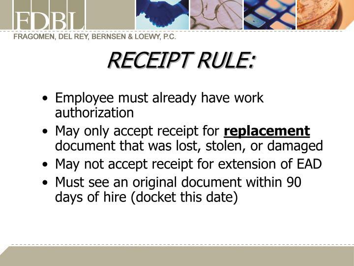 RECEIPT RULE:
