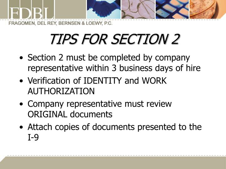 TIPS FOR SECTION 2
