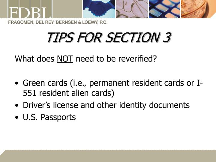 TIPS FOR SECTION 3