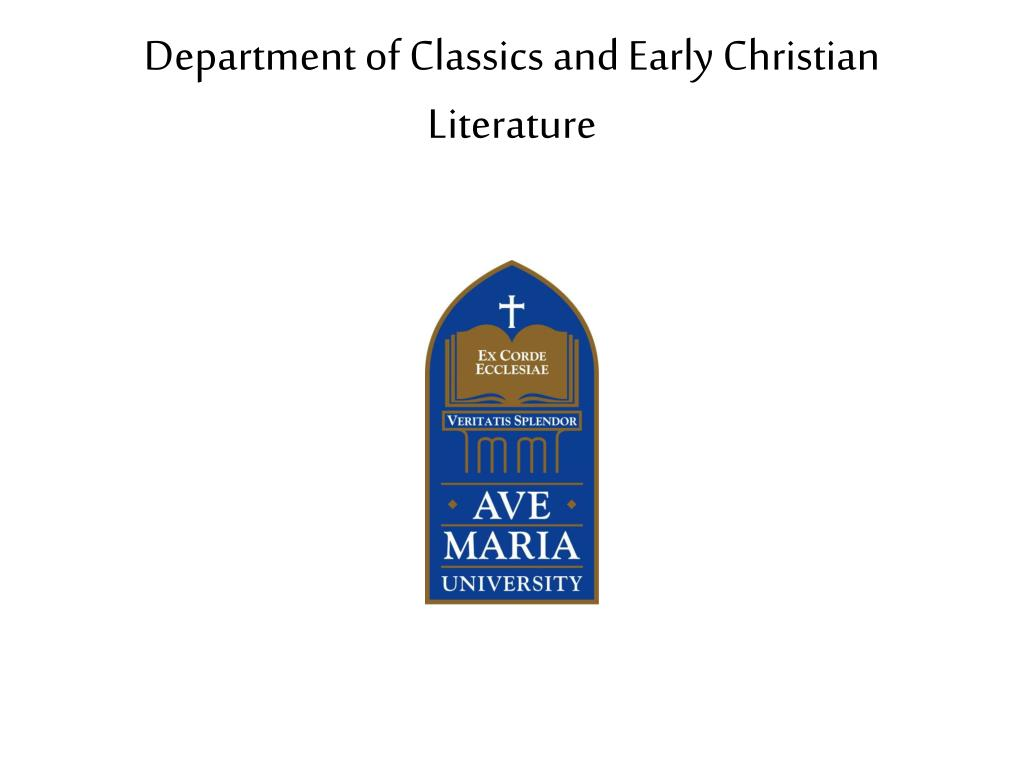 department of classics and early christian literature l.