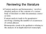 reviewing the literature10