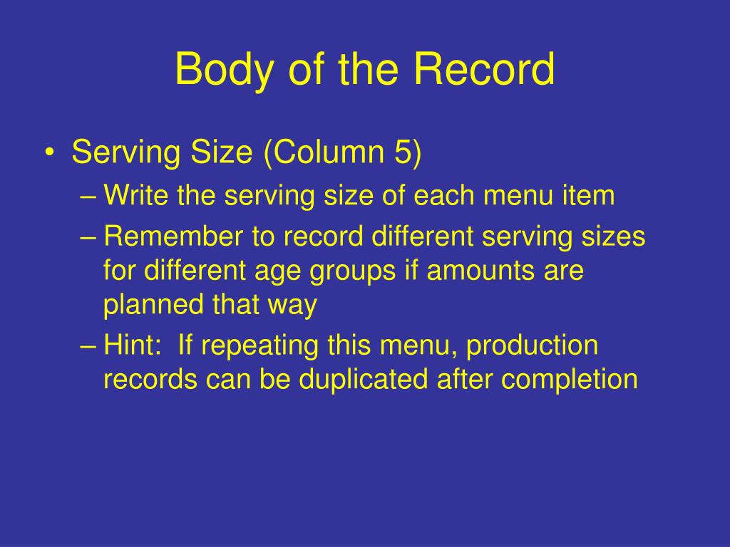 Body of the Record