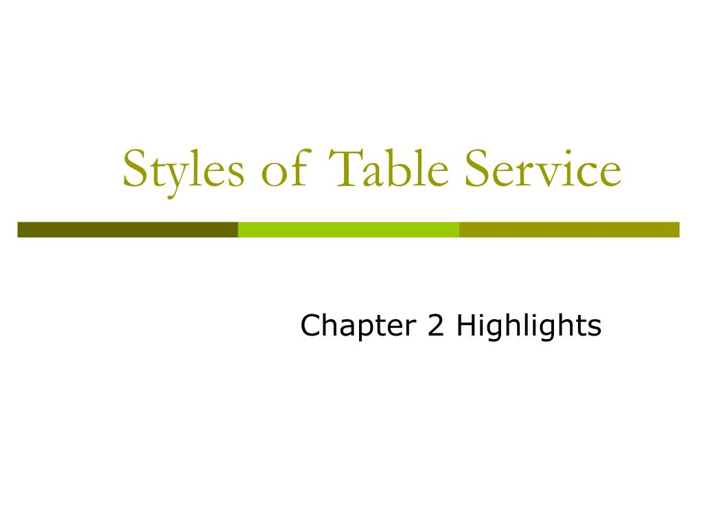 styles of table service l.