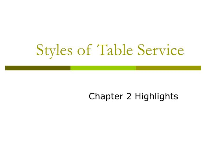 styles of table service n.