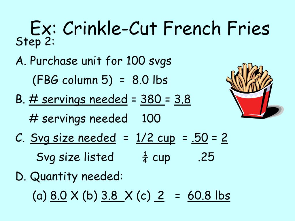 Ex: Crinkle-Cut French Fries