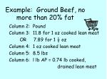 example ground beef no more than 20 fat