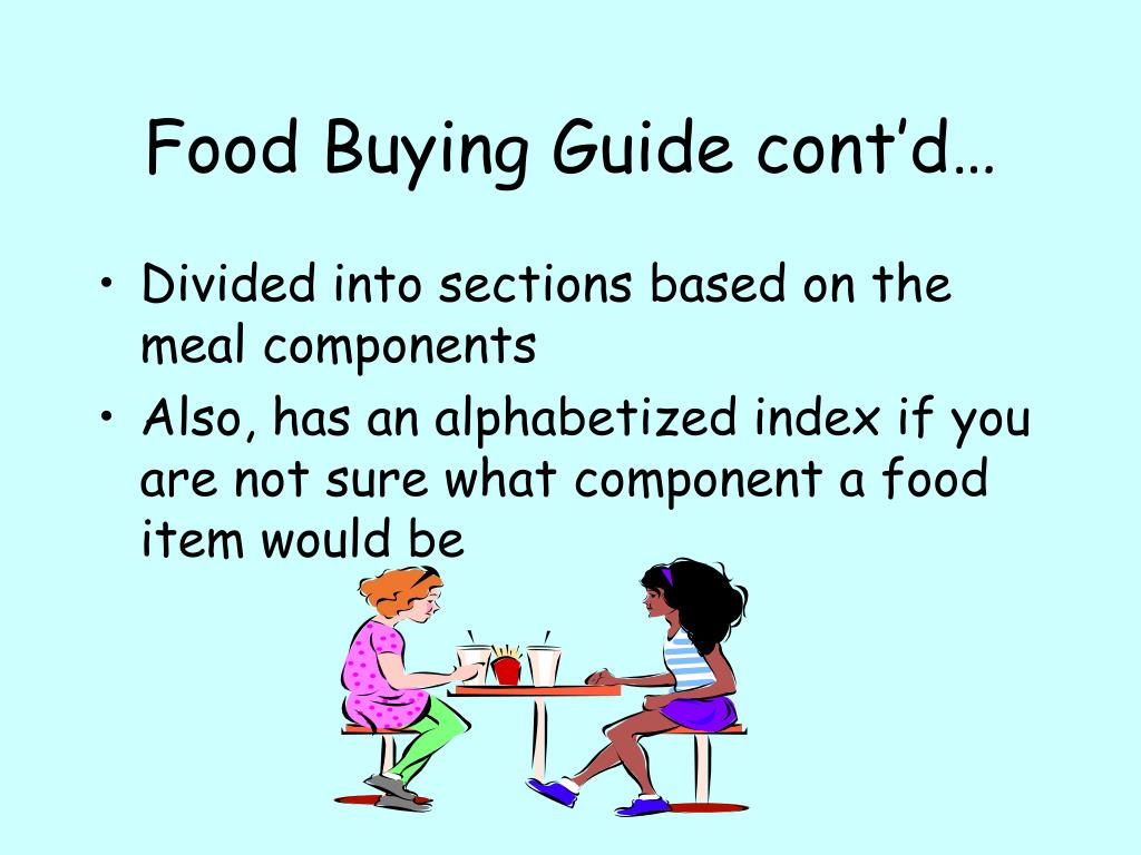 Food Buying Guide cont'd…