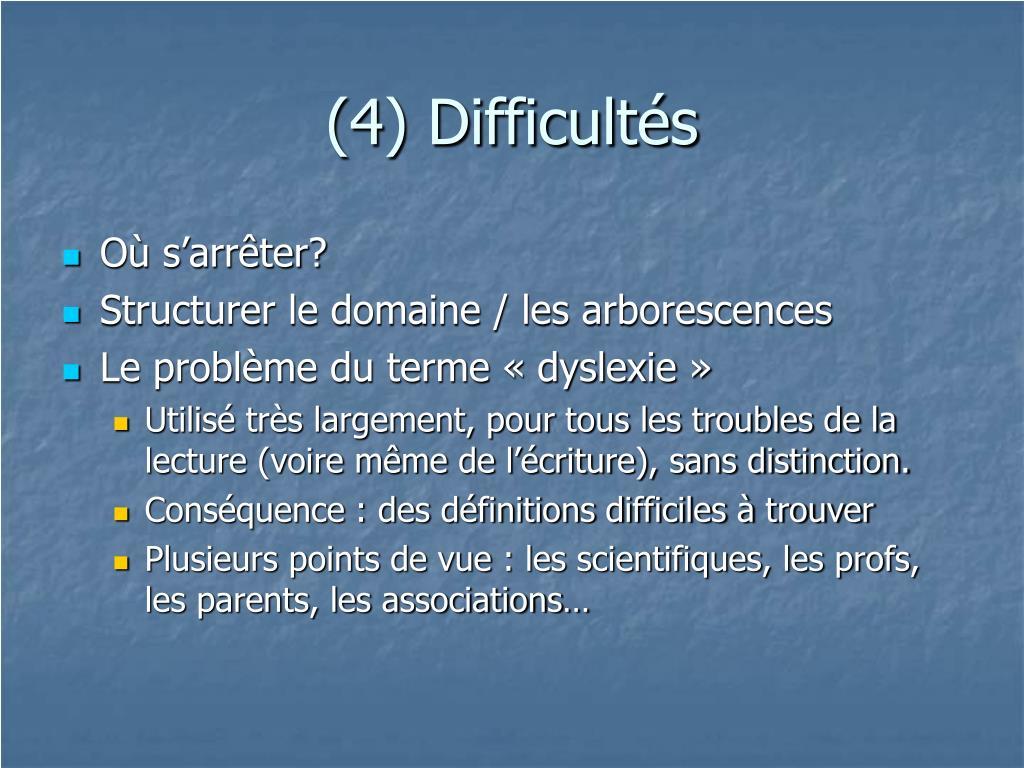 (4) Difficultés