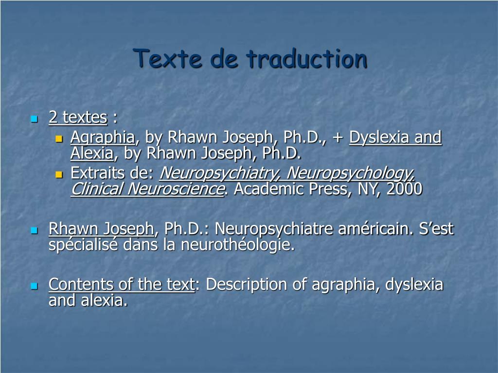 Texte de traduction