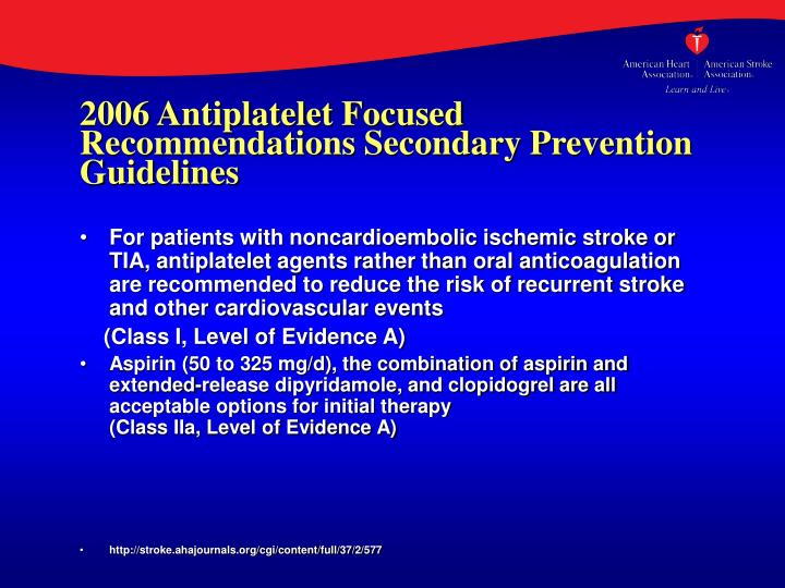 2006 Antiplatelet Focused Recommendations Secondary Prevention Guidelines