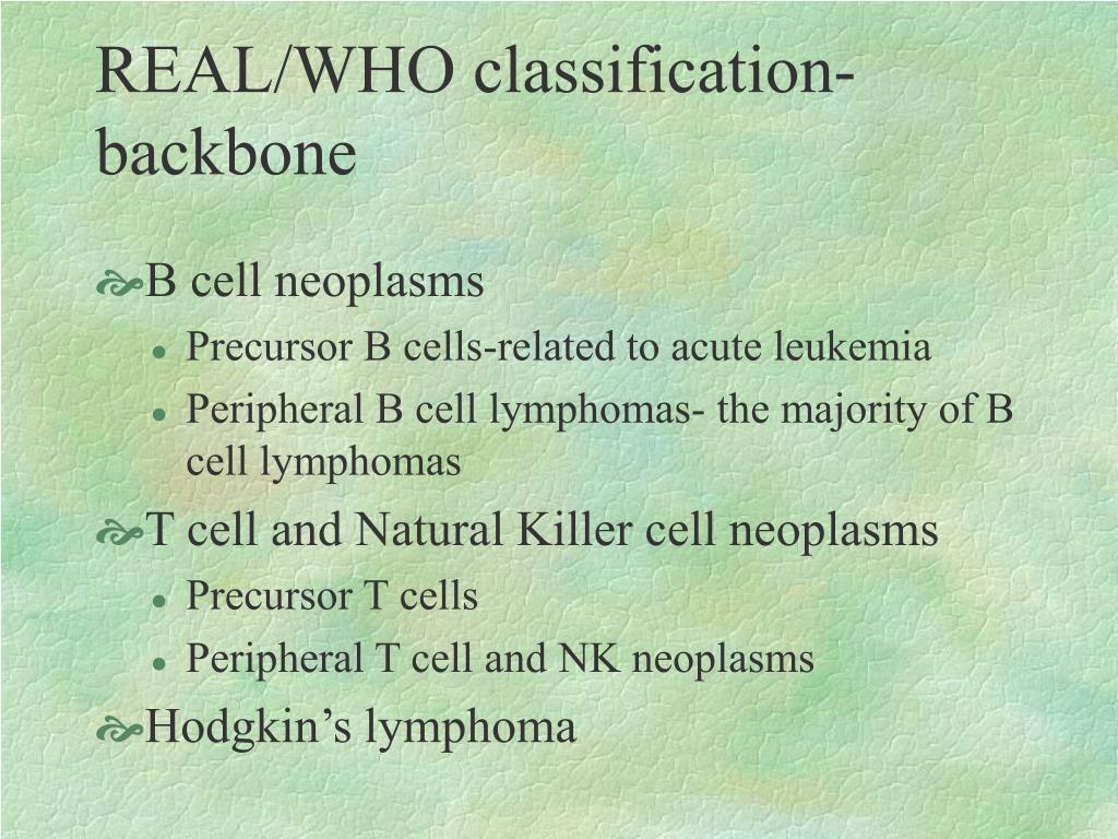 REAL/WHO classification- backbone