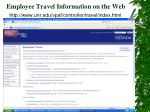 employee travel information on the web