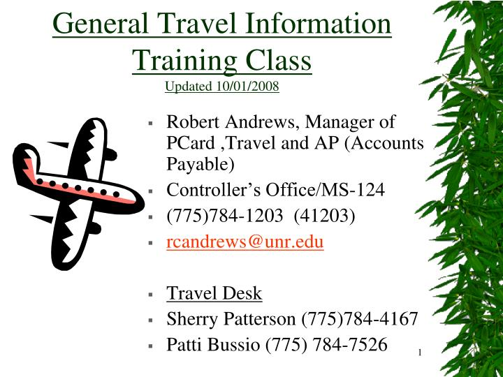 General travel information training class updated 10 01 2008