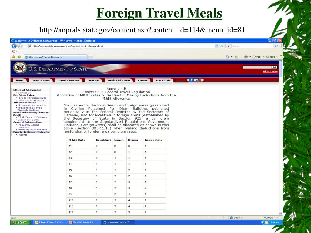 Foreign Travel Meals