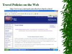 travel policies on the web
