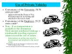 use of private vehicles