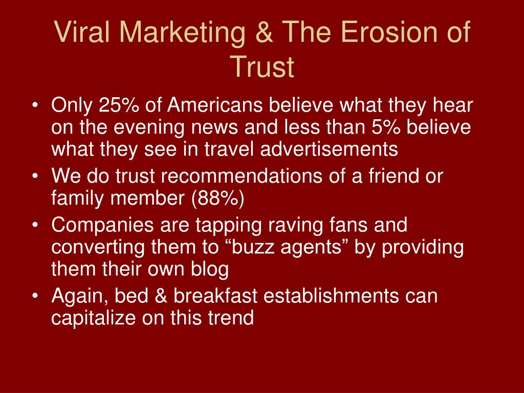 Viral Marketing & The Erosion of Trust