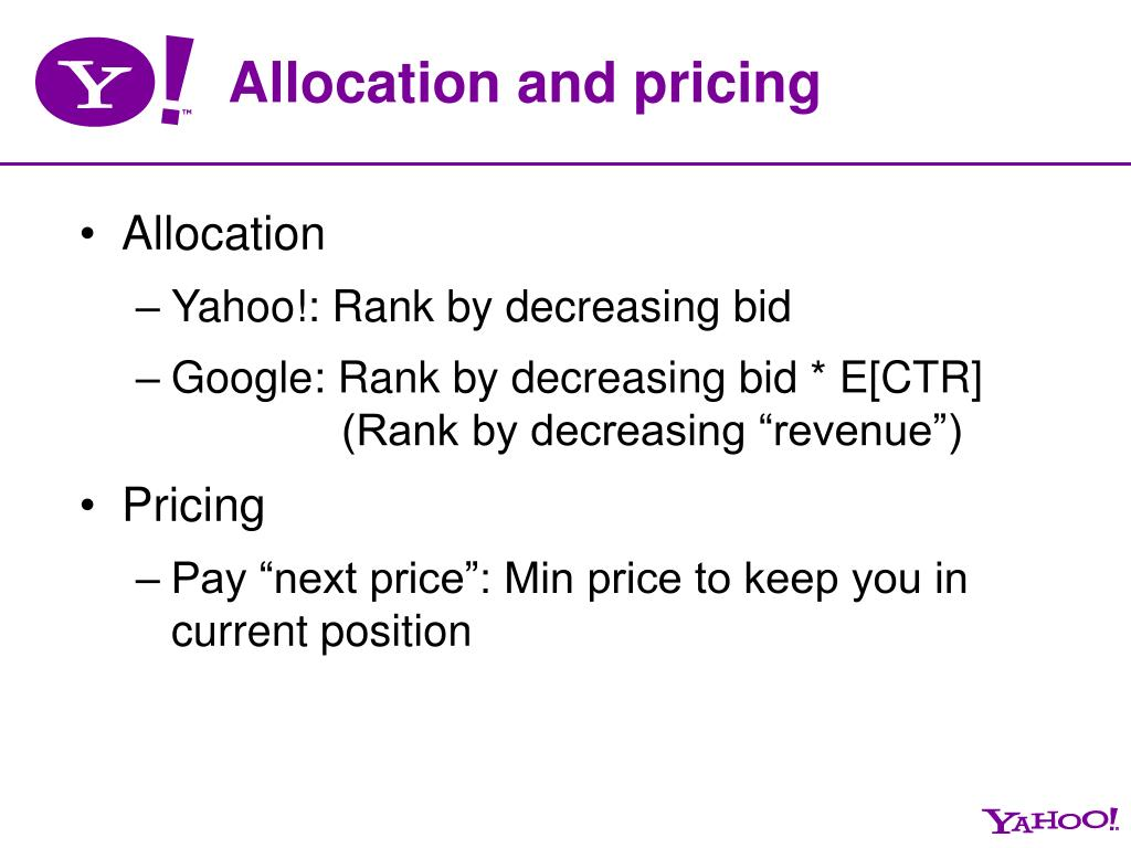 Allocation and pricing