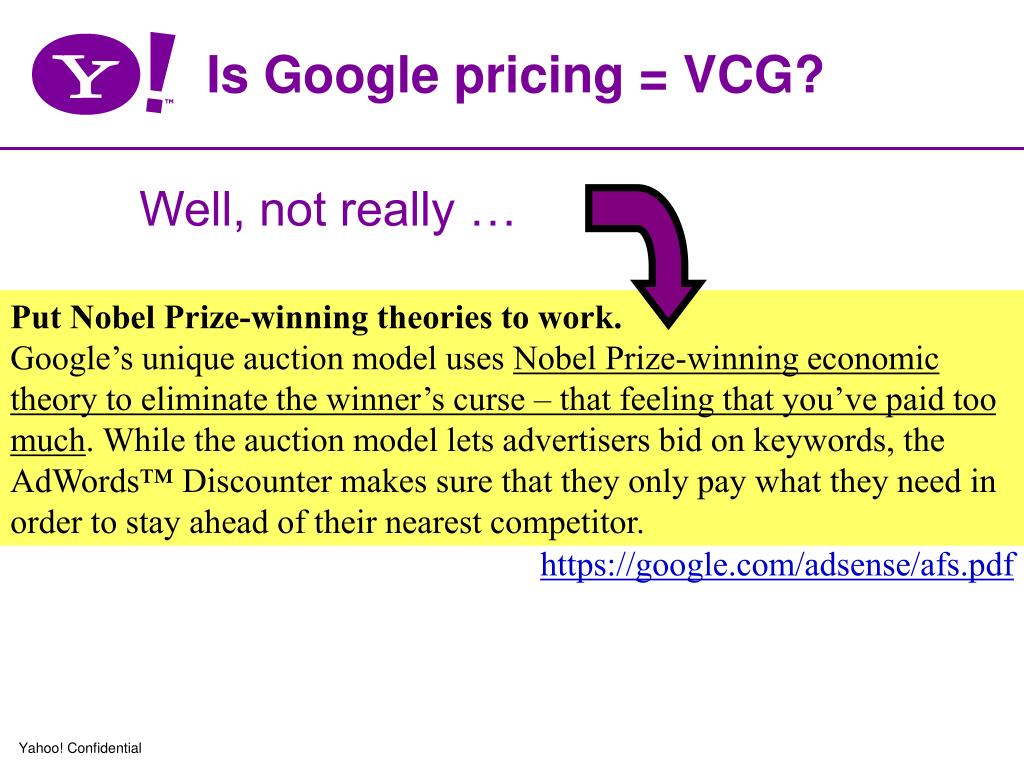 Is Google pricing = VCG?
