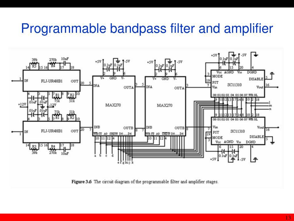 Programmable bandpass filter and amplifier
