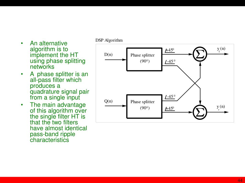 An alternative algorithm is to implement the HT using phase splitting networks