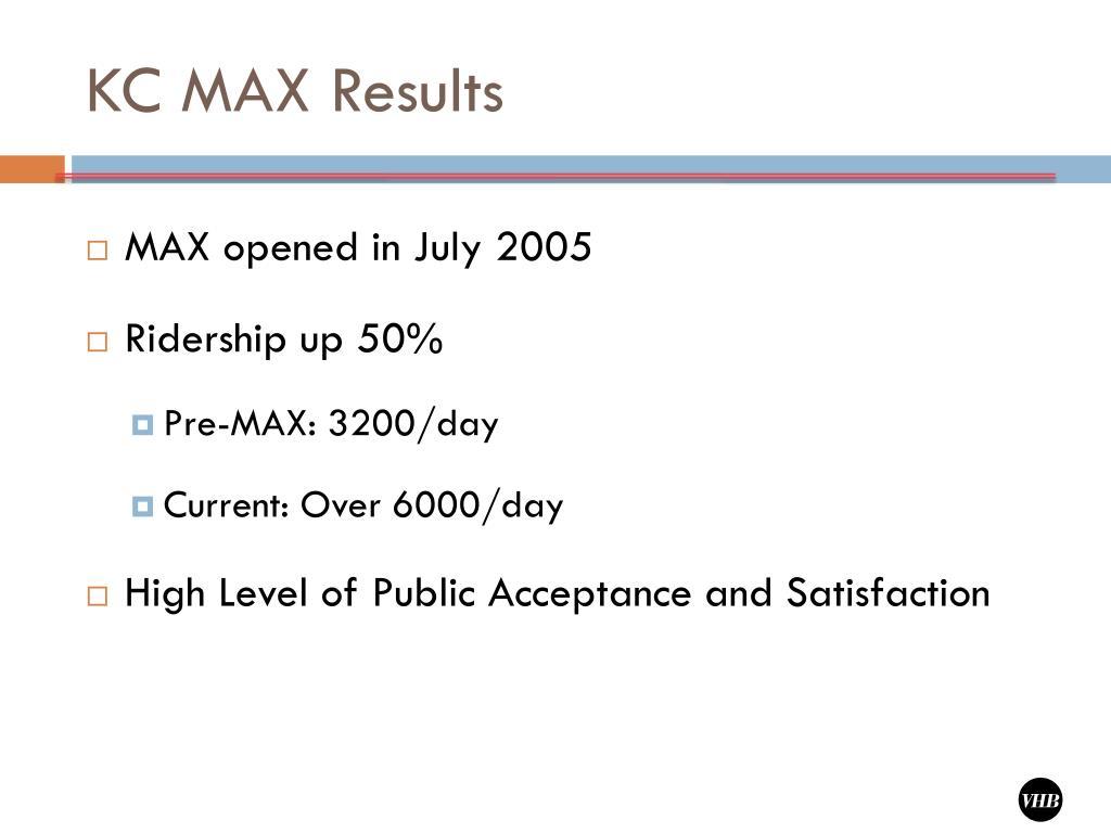 KC MAX Results