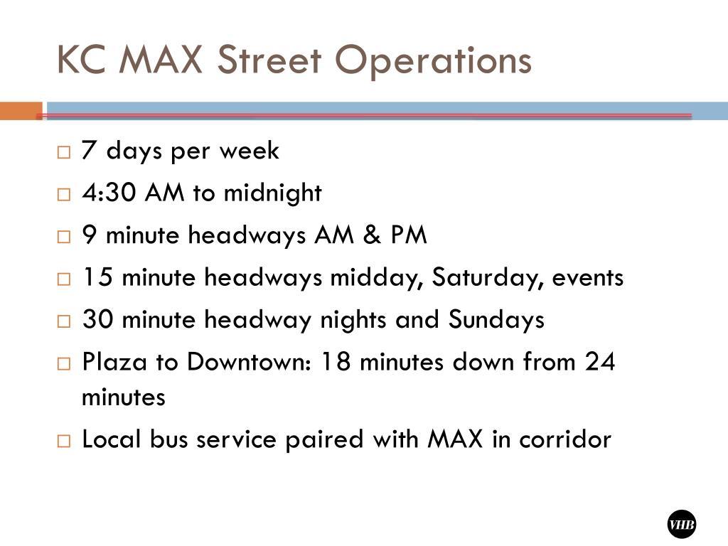 KC MAX Street Operations