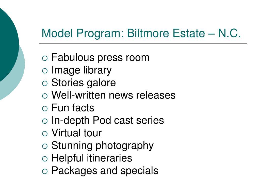 Model Program: Biltmore Estate – N.C.