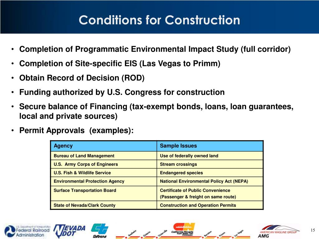 Conditions for Construction