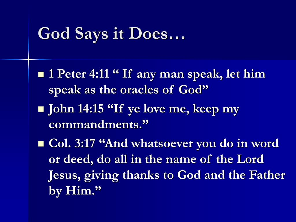 God Says it Does…