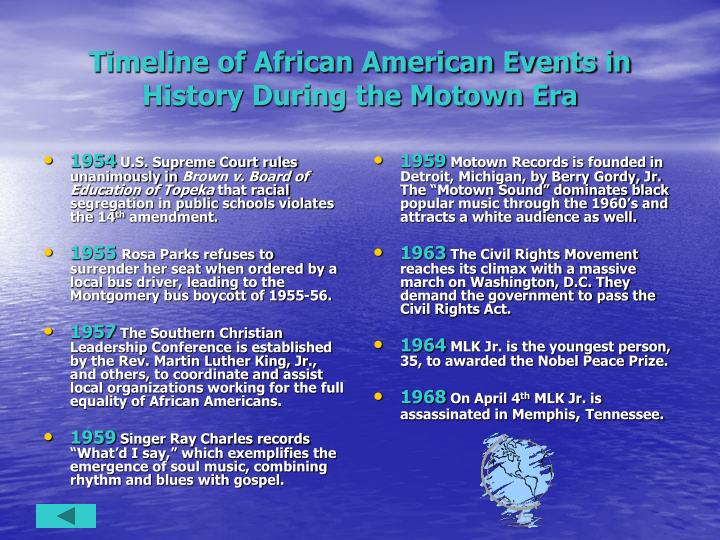 Timeline of african american events in history during the motown era