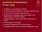 authentic presentation of the faith