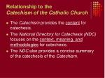 relationship to the catechism of the catholic church