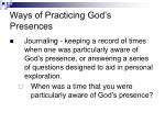 ways of practicing god s presences
